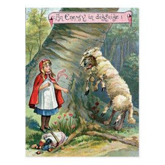 Wijnoogst Weinig Rode Berijdende Illustratie van Briefkaart