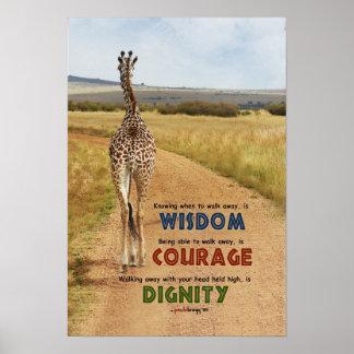 Wijsheid, Moed, Waardigheid (Giraf, inspiratie) Poster