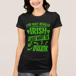 Wil enkel het Drinke St Paddys Grappige Citaat van T Shirt