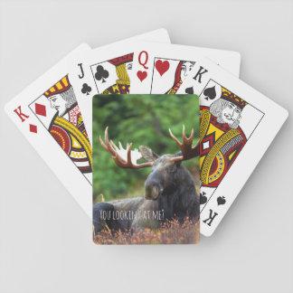 Wilde Amerikaanse elanden op Heuvel met Houding in Speelkaarten