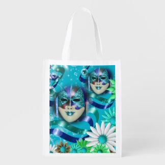 Wilde blauwgroene bloem   van de maskerade herbruikbare boodschappentas