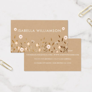 Wilde Bloesem | Goud schittert Bloemen Elegant Visitekaartjes