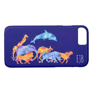 Wilde dieren die het Kleurrijke Monogram van de iPhone 8/7 Hoesje