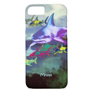 wilde koele kleurrijke haaien iPhone 8/7 hoesje