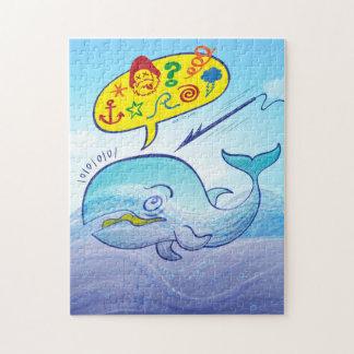 Wilde walvis die slechte woorden zeggen terwijl puzzel