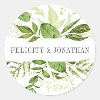 Wilde Weide   Groen Botanisch Huwelijk Ronde Sticker