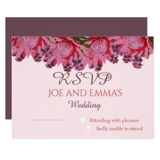 Wildflower in pinks Huwelijk RSVP Kaart
