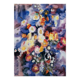 Wildflowers, pastelkleurwaterverf het schilderen poster