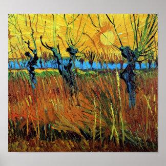 Wilgen het Fine Art. bij van de Zonsondergang Poster