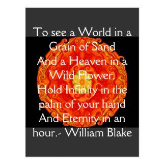 """William Blake """"het citaat Wereld in van een Korrel Briefkaart"""