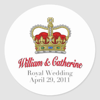 William & Catherine Royal Wedding 29 April, 2011 Ronde Sticker