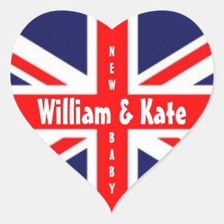 William & Kate/het Nieuwe baby-Unie Hart van de Hartvormige Sticker