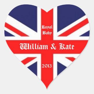 William & Kate/Koninklijke baby-Unie Hefboom Hart Sticker