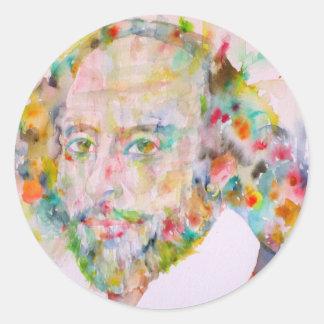 William Shakespeare - waterverf portrait.1 Ronde Sticker