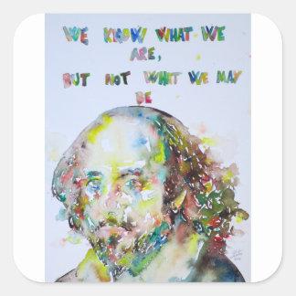 William Shakespeare - waterverf portrait.2 Vierkante Sticker