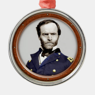 William Tecumseh Sherman Zilverkleurig Rond Ornament
