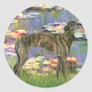 Windhond (br8) - Lelies 2 Ronde Stickers