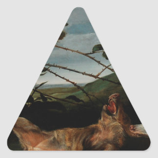 Windhond die een Jong Everzwijn Frans Snyders Driehoekige Stickers