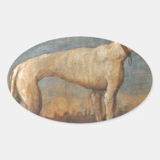 Windhond door Giovanni Domenico Tiepolo Ovaalvormige Stickers