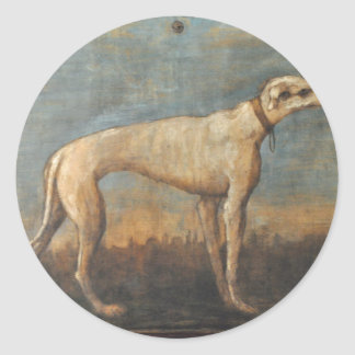 Windhond door Giovanni Domenico Tiepolo Ronde Sticker