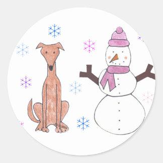 Windhond Fawn & Sneeuwman Ronde Sticker