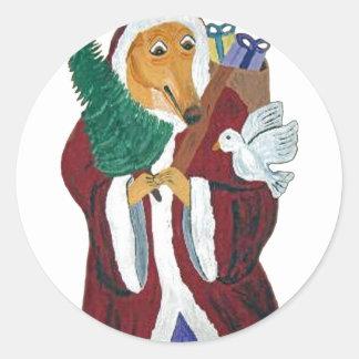 Windhond Kerstman Ronde Sticker