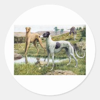 Windhond Ronde Sticker