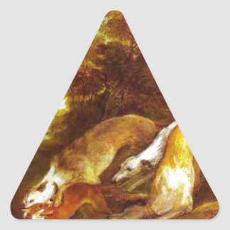 Windhonden die over een vos door Thomas Driehoekvormige Stickers