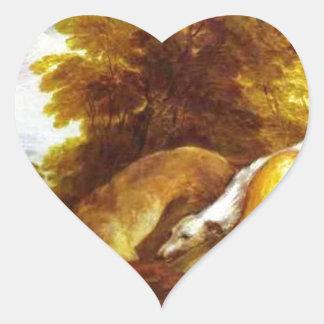 Windhonden die over een vos door Thomas Hart Sticker
