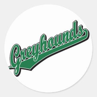 Windhonden in Groen Ronde Stickers