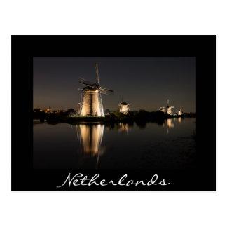 Windmolens bij nacht zwart briefkaart dat worden