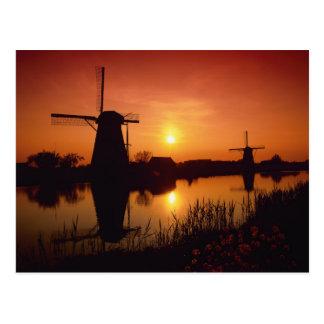Windmolens bij zonsondergang Kinderdijk Nederlan Wenskaarten