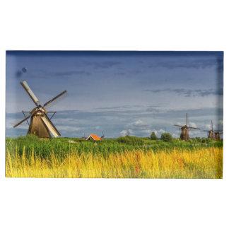 Windmolens in Kinderdijk, Holland, Nederland Plaatskaart Houder