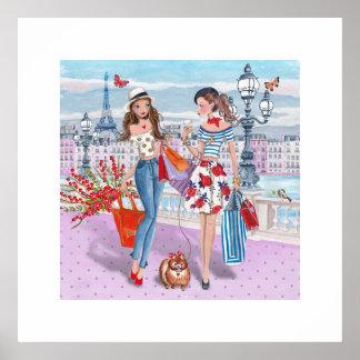 Winkelende Meisjes | Poster van Paris|