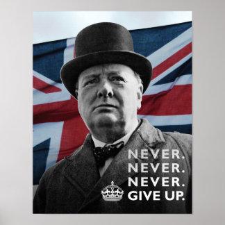 """Winston Churchill- """"geeft nooit op """" Poster"""