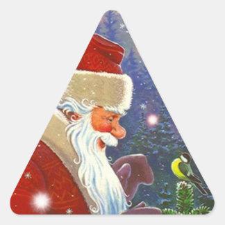 Winter van de Vogel van Kerstmis van de Kerstman Driehoekvormige Sticker