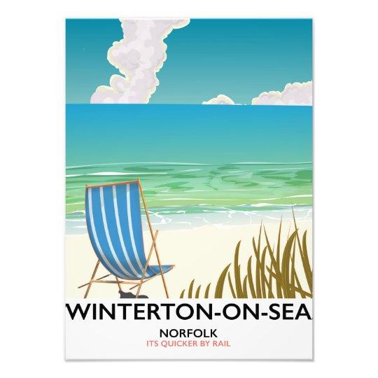 Winterton-op-zee de reisposter van het Strand van Foto Afdrukken