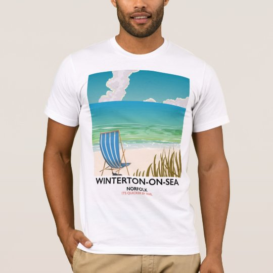 Winterton-op-zee de reisposter van het Strand van T Shirt