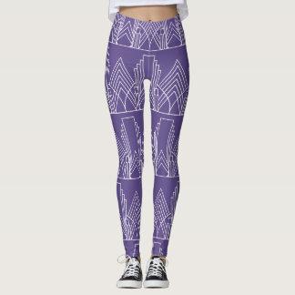 Wit art deco geometrisch patroon op ultraviolet leggings