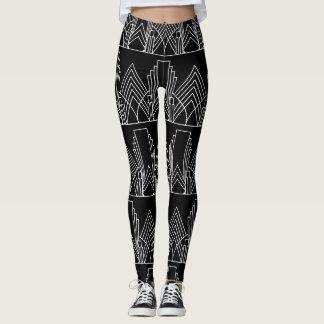 Wit art deco geometrisch patroon op zwarte leggings