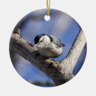 Wit-Breasted Nuthatch Rond Keramisch Ornament