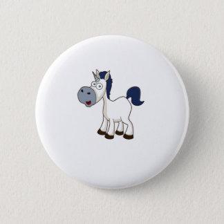 wit cartoonpaard ronde button 5,7 cm