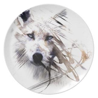 Wit de wolven dierlijk art. van de Wolf Melamine+bord