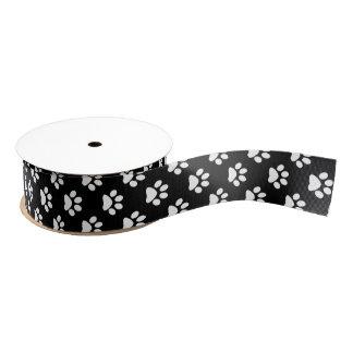Wit DIY op Zwarte Kat/Hond/Dierlijke Voetafdruk Grosgrain Lint
