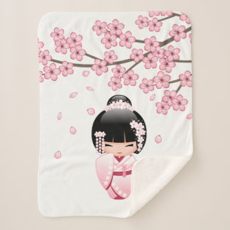 Wit Doll van Kokeshi van de Kimono - het Leuke Sherpa Deken