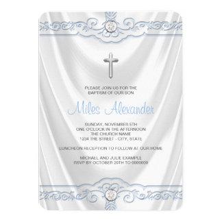 Wit en Blauw Doopsel die Wit Satijn dopen 11,4x15,9 Uitnodiging Kaart