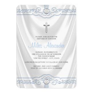 Wit en Blauw Doopsel die Wit Satijn dopen 12,7x17,8 Uitnodiging Kaart