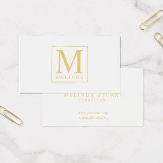 Wit en Gouden Elegant Monogram Visitekaartjes
