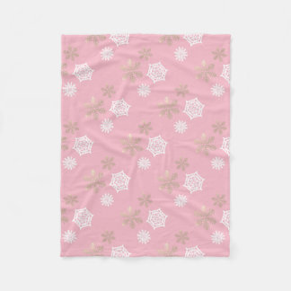 wit en gouden sneeuwvlokpatroon   - bord - roze fleece deken