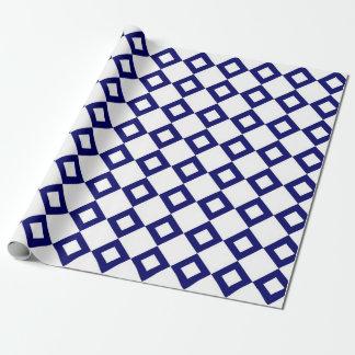 Wit en het Patroon van de Diamant van de Marine Inpakpapier